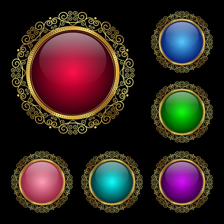 Glossy round frame in a golden rim. Vector Illustration for greeting card