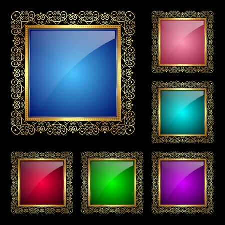 Glossy square frame in a golden rim. Vector Illustration for greeting card Illustration