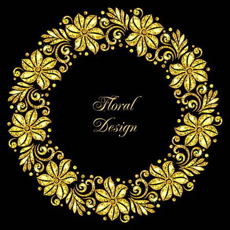 Stylized floral ornament made of golden shiny confetti. Vector illustration