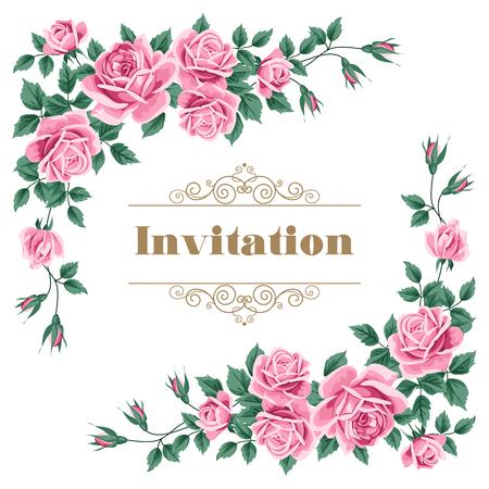 Nupcial de la ducha, invitación de la boda o guardar la plantilla de tarjeta de fecha con rosas. Ilustración del vector