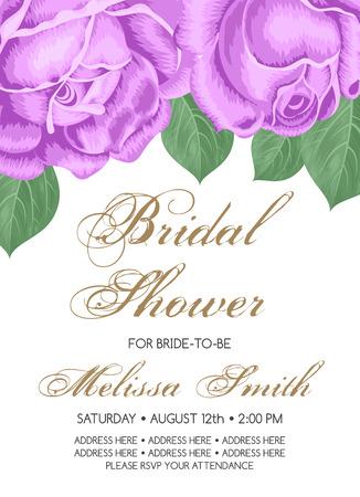 dinner date: Bridal shower or wedding invitation with roses. Vector Illustration Illustration