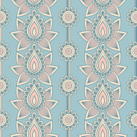 Seamless asian ethnic floral pattern. Mehndi design. Vector illustration