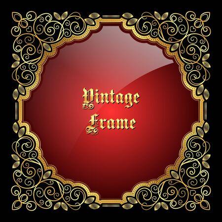 vintage: Vintage decorative golden frame with place for text. Vector illustration