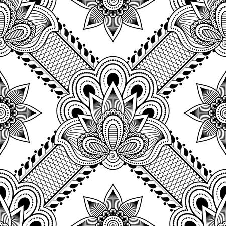 Seamless asian ethnic floral pattern. Mehndi design. Vector illustration Imagens - 70919842