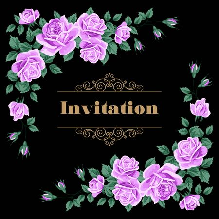 rose bouquet: Bridal Shower, Wedding Invitation or Save the Date card template with roses. Vector Illustration