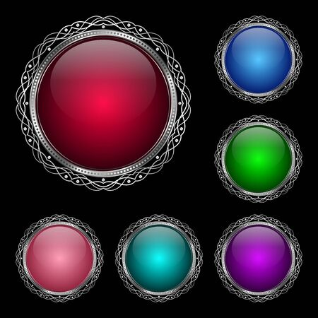 silver frame: Glossy round frame in a silver rim. Vector Illustration for greeting card
