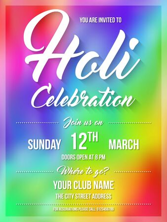 gulal: Happy Holi spring festival of colors. Poster, flyer or invitation template. Vector Illustration Illustration