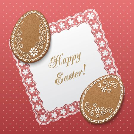 Happy Easter greeting card with polka dot , lacy doily and egg-shaped gingerbread cookies. Vector Illustration Illustration