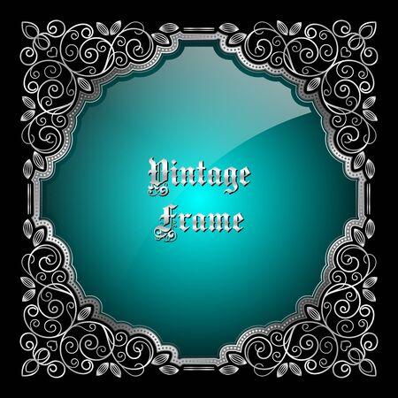 Cadre argenté décoratif vintage avec place pour le texte. illustration.