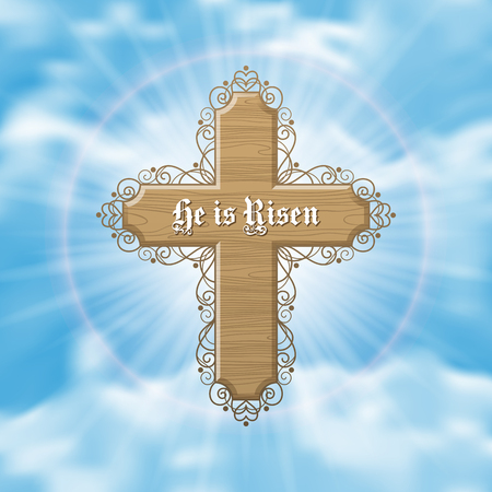 He is Risen. Easter greeting card with wood cross and sun rays in the cloudy sky. Vector Illustration