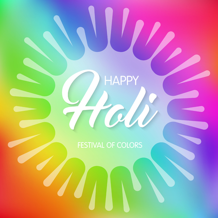 Happy Holi spring festival of colors. Greeting card or invitation template. Vector Illustration