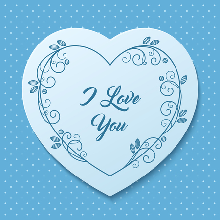 loveheart: Romantic greeting card with floral stylized heart-shaped frame. Vector Illustration