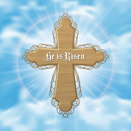 he is beautiful: He is Risen. Easter greeting card with wood cross and sun rays in the cloudy sky. Vector Illustration