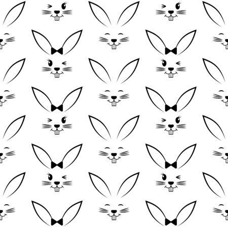 happy: Seamless pattern with easter bunnies. Background for greeting card, invitation, wrapping. Vector Illustration