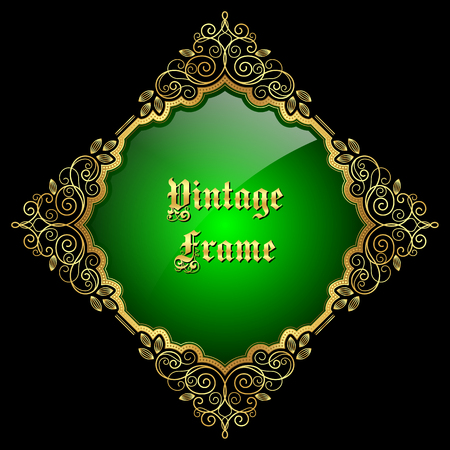 Vintage decorative golden frame with place for text. Vector illustration