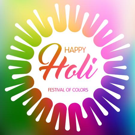 pichkari: Happy Holi spring festival of colors. Greeting card or invitation template. Vector Illustration