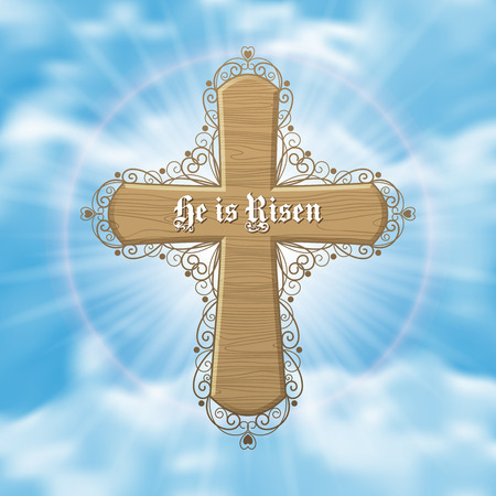 easter cross: He is Risen. Easter greeting card with wood cross and sun rays in the cloudy sky. Vector Illustration