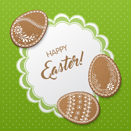 Happy Easter greeting card with polka dot background, lacy doily and egg-shaped gingerbread cookies. Vector Illustration