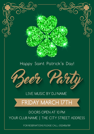 lucky charm: Saint Patricks Day invitation or poster template with glittering four-leaf clover. Vector Illustration.