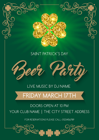 Saint Patrick's Day invitation or poster template with glittering four-leaf clover. Vector Illustration. Иллюстрация