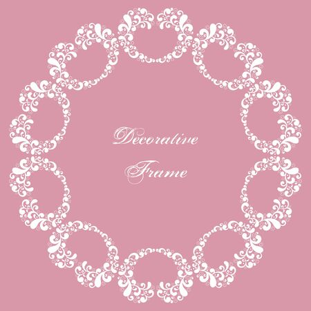 Decorative round frame with swirls. Ornamental background for greeting card or wedding invitation. Vector Illustration