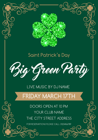 Saint Patricks Day invitation or poster template with glittering four-leaf clover. Vector Illustration.