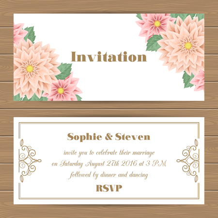 dinner date: Wedding invitation, Save the Date card with flowers. Vector Illustration Illustration