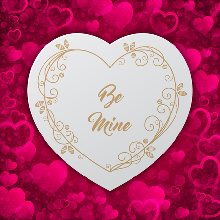 fourteenth: Romantic greeting card with floral stylized heart-shaped frame. Vector Illustration