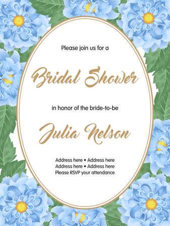 dinner date: Bridal shower or wedding invitation with flowers. Vector Illustration
