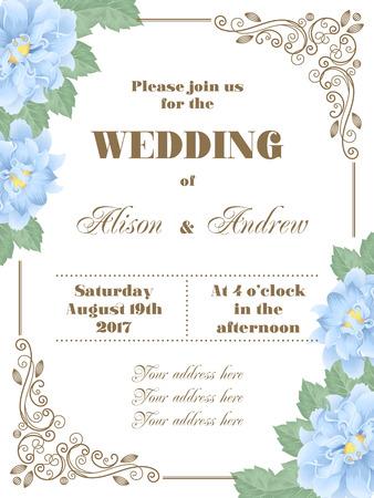 Hochzeitseinladung mit Blumen und dekorativen Ecken. Vektor-Illustration im Retro-Stil Standard-Bild - 75231139