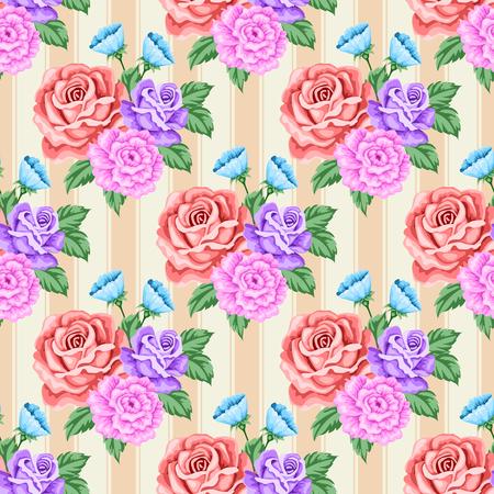 Naadloos patroon met rozen en bloemen. Vector illustratie in retro stijl