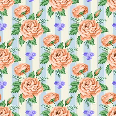 Seamless pattern with roses and flowers. Vector Illustration in retro style
