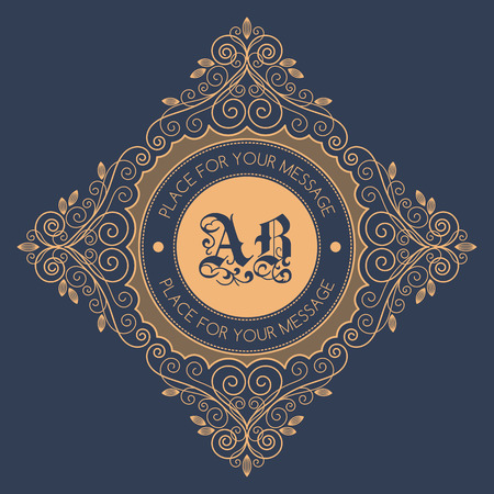 baroque border: Monogram template with decorative calligraphic ornament frame. Luxury label in retro style. Vector Illustration.
