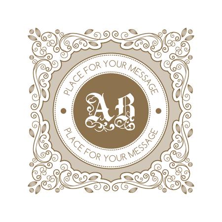 baroque border: Monogram template with decorative calligraphic ornament frame. Luxury label in retro style. Vector Illustration