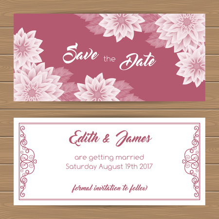 dinner date: Save the Date card or Wedding Invitation template. Vector Illustration Illustration