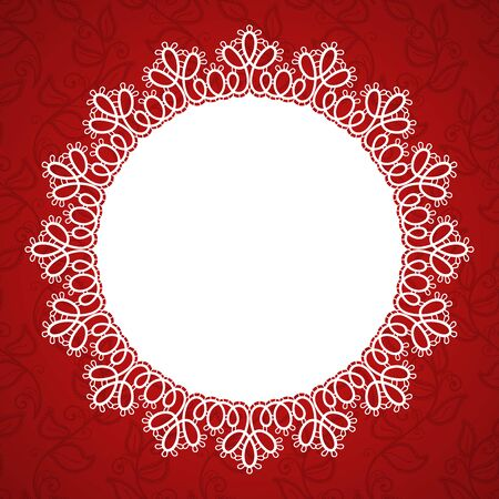 Round lace frame with a place for text. Background for wedding invitation, greeting card. Vector Illustration Illustration