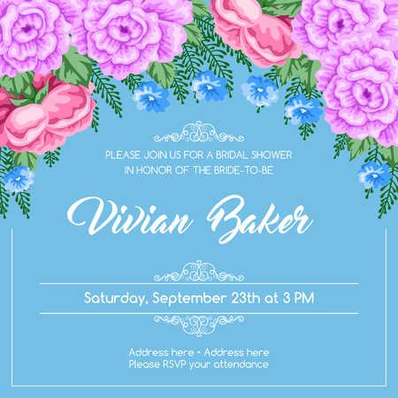 Bridal shower invitation template with flowers. Vector Illustration in retro style.