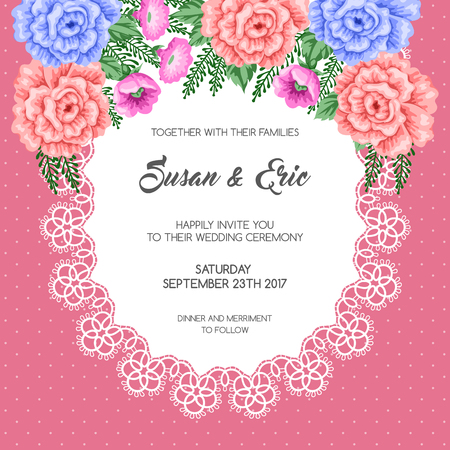 happy woman: Wedding invitation template with flowers. Vector Illustration in retro style