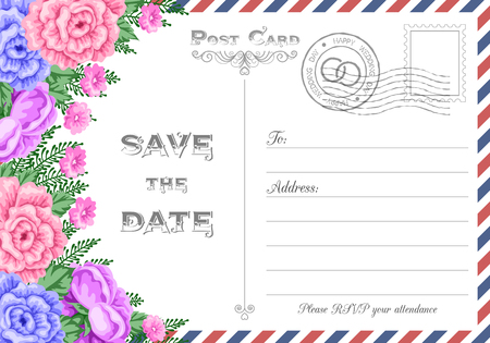 happy woman: Vintage postcard wedding invitation template with flowers. Save the Date card. Vector Illustration