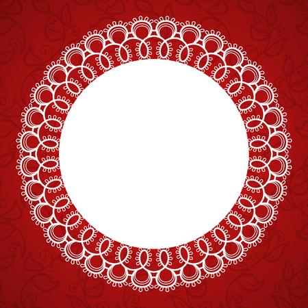 Struttura rotonda in pizzo con un posto per il testo. Sfondo per invito di nozze, biglietto di auguri. Illustrazione Vettoriale