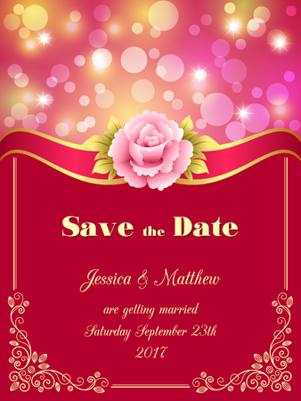 happy woman: Save the Date card, wedding invitation with decorative design elements and bokeh lights. Vector illustration