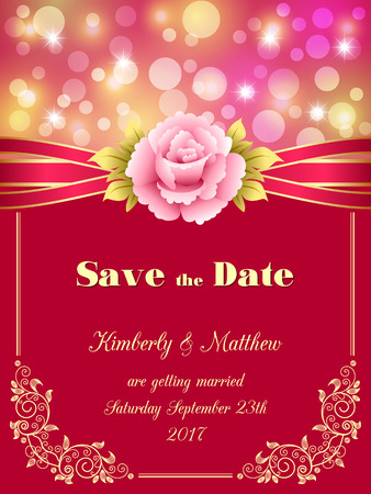 fairy: Save the Date card, wedding invitation with decorative design elements and bokeh lights.