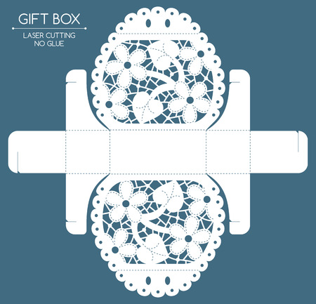 felicitation: Openwork gift box with a lace ornament. Laser cutting Illustration