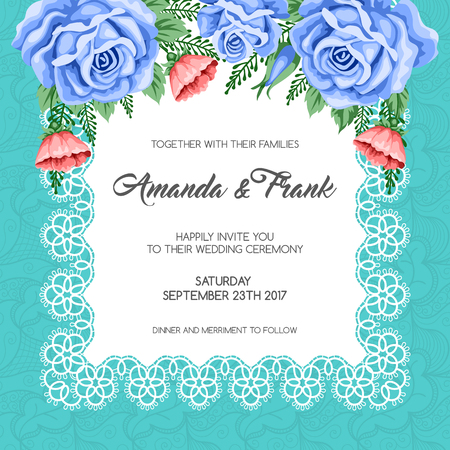 retro woman: Wedding invitation template with flowers. Vector Illustration in retro style