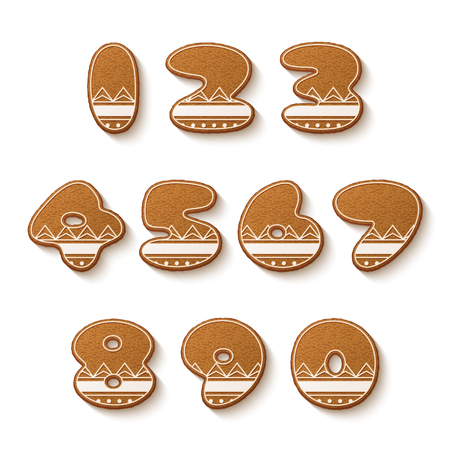 christmas cake: Set of gingerbread cookies with icing. Numbers. Vector illustration