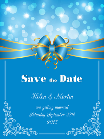 fairy: Save the Date card, wedding invitation with decorative design elements and bokeh lights. Vector illustration