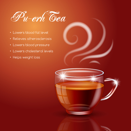 Tea properties and health benefits. Vector Illustration