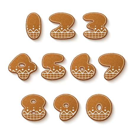 Set of gingerbread cookies with icing. Numbers. Vector illustration
