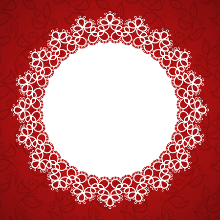 Round lace frame with a place for text. Pattern for wedding invitation, greeting card. Vector Illustration