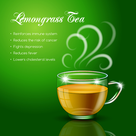 Tea properties and health benefits. Vector Illustration
